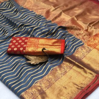 Gorgeous Grey Banarasi Silk Zari Weaving Saree
