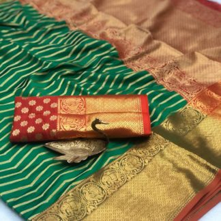 Amazeballs Green Banarasi Silk All Over Weaving Zari Saree