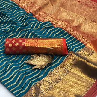 Smashing Rama Blue Banarasi Silk All Over Zari Weaving Saree