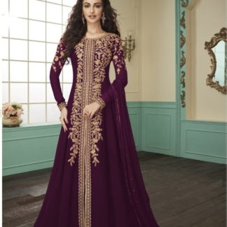 Beauteous Wine Georgette With Embroidered Work Salwar Suit