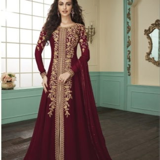 Pulchritudinous Maroon Georgette With Embroidered Work Salwar Suit
