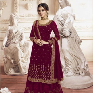 Fantastic Maroon Georgette With Embroidered Work Plazo Salwar Suit