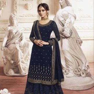 Beautiful Navy Blue Georgette With Embroidered Work Plazo Salwar Suit