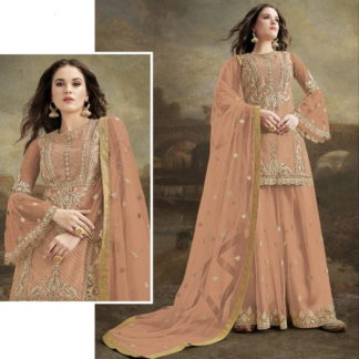 Lovely Peach Net With Diamond Embroidered Work Plazo Salwar Suit