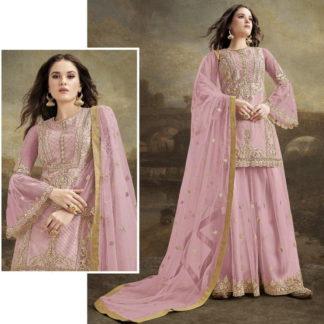 Good-Looking Pink Net With Diamond Embroidered Work Plazo Salwar Suit