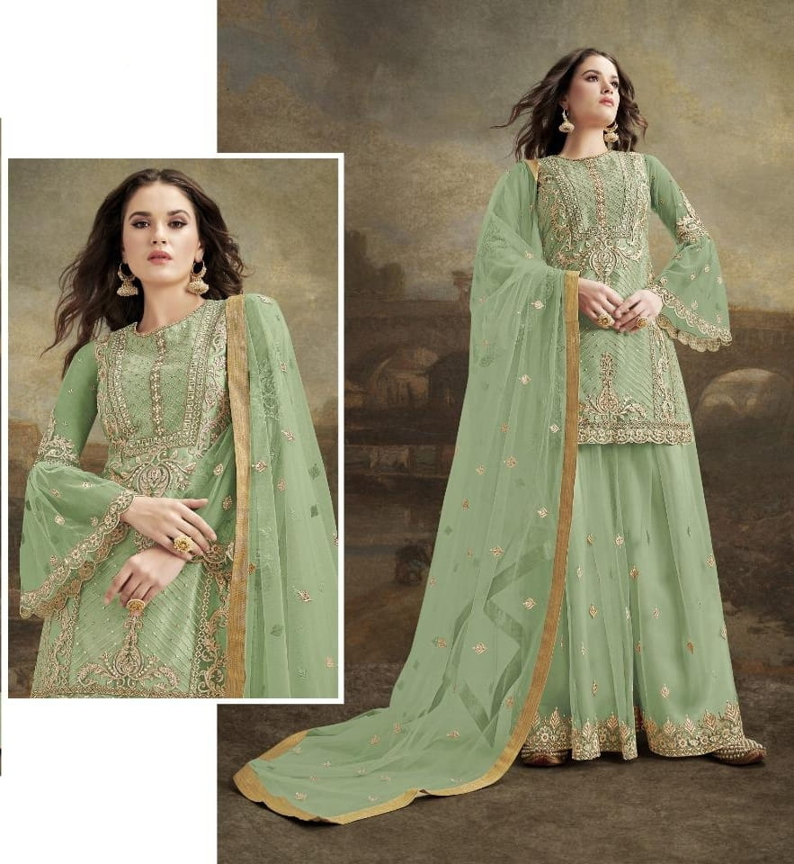 Comely Pista Green Net With Embroidered Diamond Plazo Salwar Suit