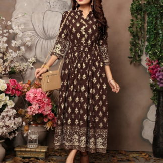 Gorgeous Chocolate Colored Rayon Foil Printed Gown