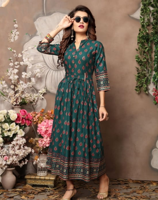 Beauteous Rama Rayon Foil Printed Gown