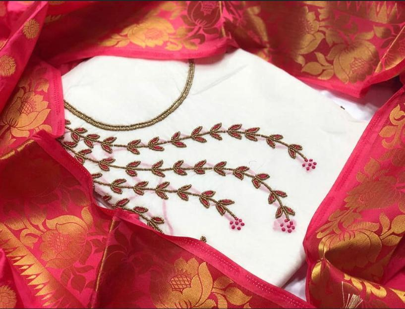 Comely White Chanderi With Khatli Work Salwar Suit