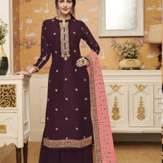 Magnificent Maroon Silk With Embroidered Work Plazo Salwar Suit