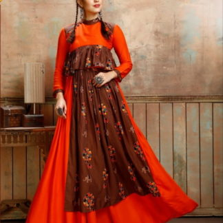 Bewitching Orange Rayon Printed Ready Made Gown