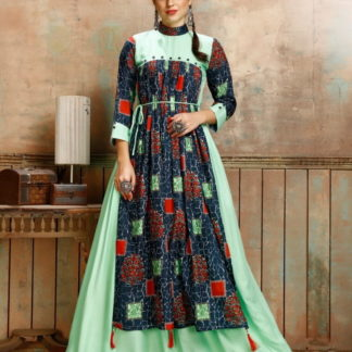 Alluring Pista & Blue Rayon Printed Ready Made Gown