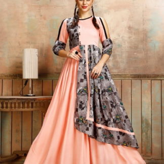 Gorgeous Peach Rayon Printed Full Stitched Gown