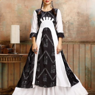 Knockout Black & White Rayon Printed Ready Made Gown