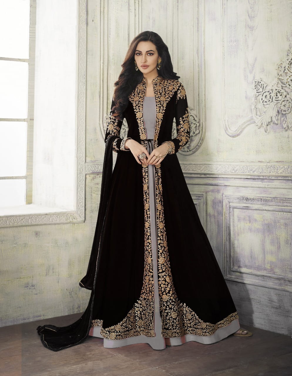 Beauteous Black & Grey Georgette With Embroidered Work Salwar Suit