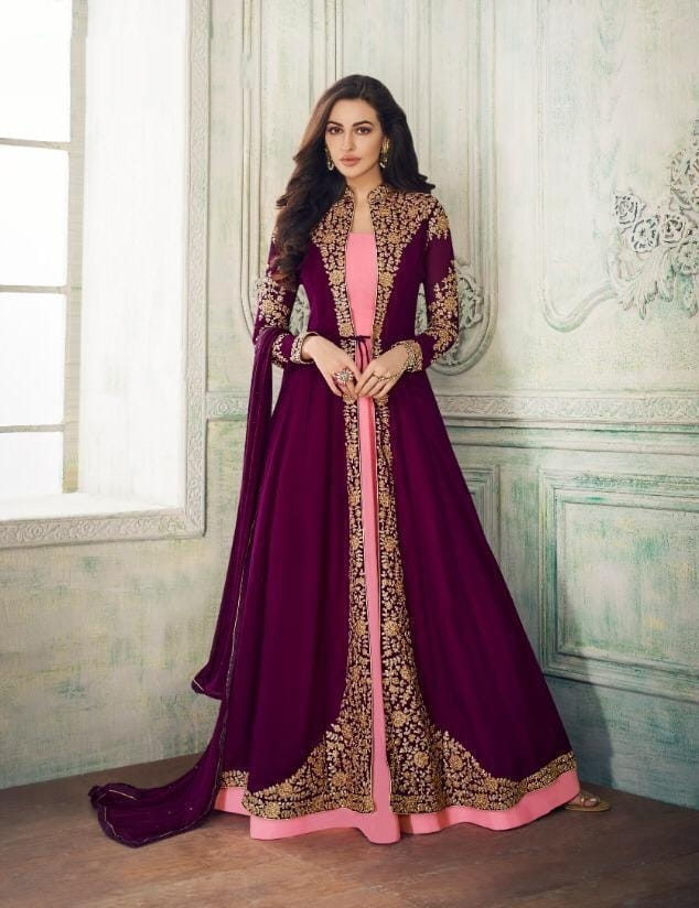 Astonishing Wine & Pink Georgette With Embroidered Work Salwar Suit