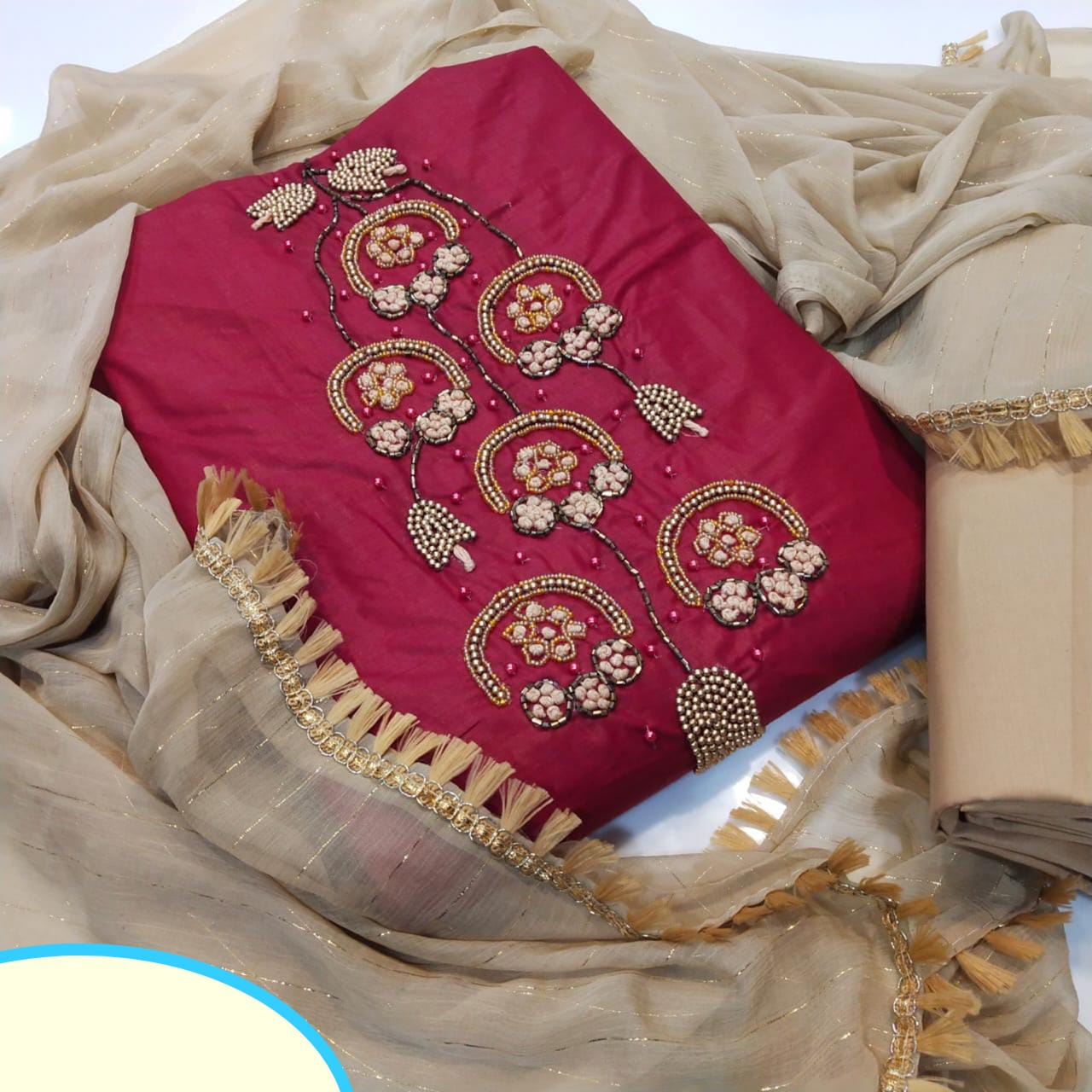 Fabulous Maroon Cotton With Hand Work Salwar Suit