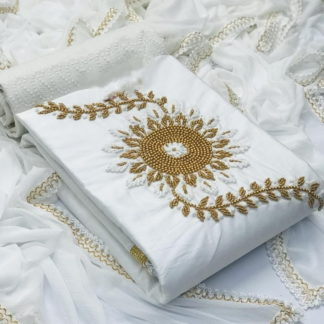 Striking White Cotton With Hand Work Salwar Suit