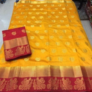 Bewitching Mustard & Maroon Silk With All Over Butti Saree