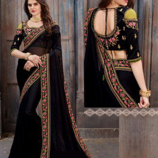 Phenomenal Black Georgette With Embroidered Work Saree
