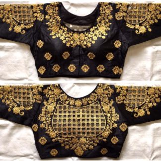 Lovely Black Silk With Thread Work Ready Made Blouse