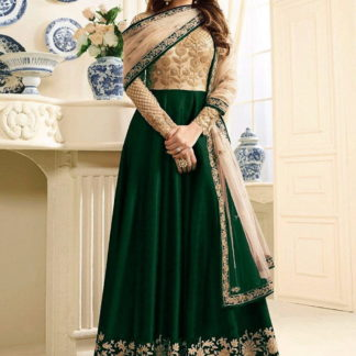 Sensational Green Silk Net With Embroidered Work Salwar Suit