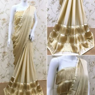 Pulchritudinous Cream Three Layered Ruffle Georgette Tassel Lace Saree