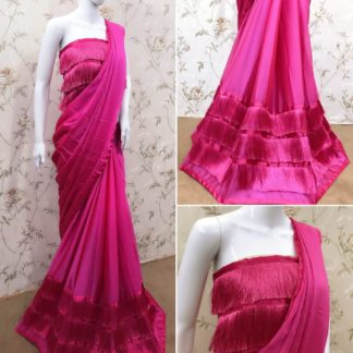 Remarkable Pink Three Layered Ruffle Georgette Thread Lace Saree