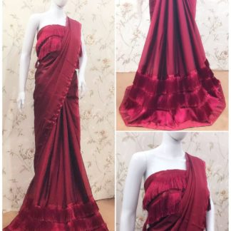 Extraordinary Maroon Three Layered Georgette Ruffle Tassel Lace Saree