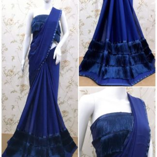 Staggering Blue Ruffle Georgette With Thread Tassel Lace Saree