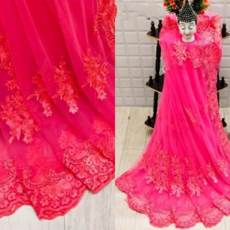 Wondrous Pink Net With Diamond Embroidered Work Saree