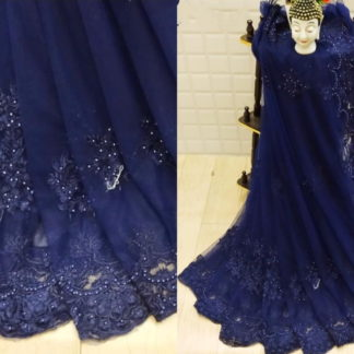Attractive Navy Blue Net With Embroidered Diamond Work Saree