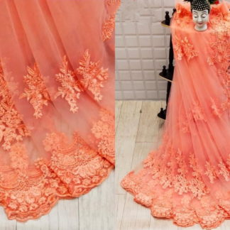 Good-Looking Prominent Peach Net With Embroidered Diamond Work Saree