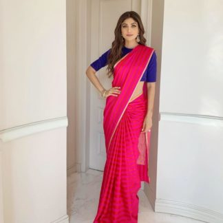 Dazzling Rani Georgette With Digital Printed Satin Lace Saree