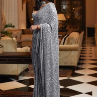 Magnificent Grey Georgette With Sequence Work Saree