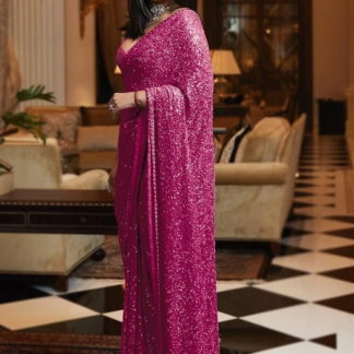 Glorious Rani Georgette With Sequence Work Saree