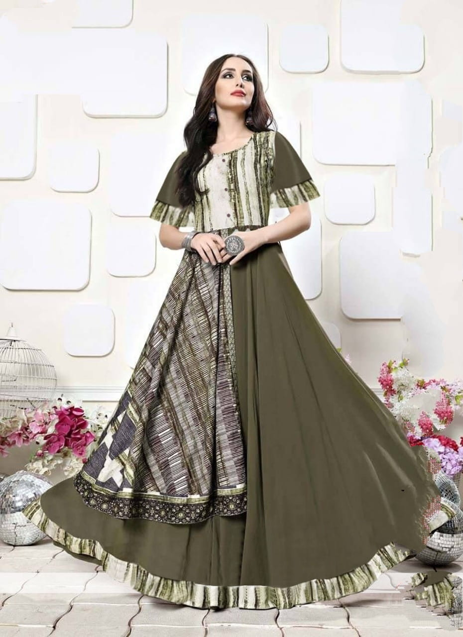 Comely Mehendi Rayon Digital Printed Party Gown