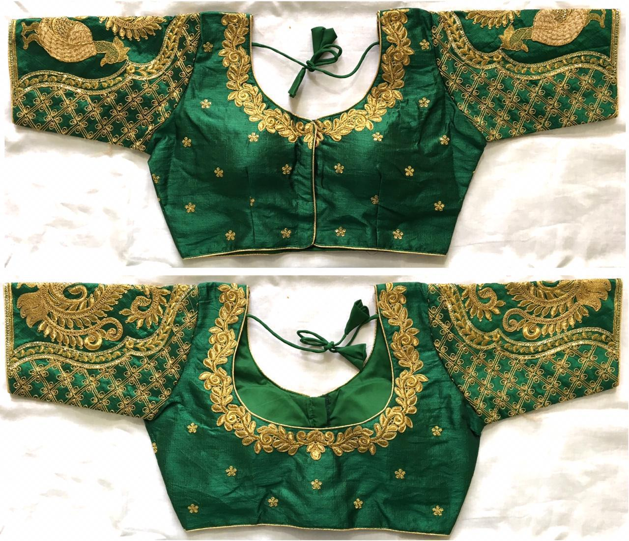 Comely Dark Green Fentam Silk With Ready Work Ready Made Blouse