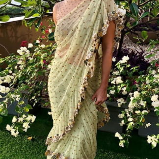 Glorious Green Net Ruffle Embroidered Sequence Saree Designer Saree