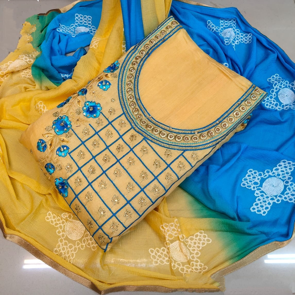 Fantastic Yellow & Sky Blue Chanderi Embroidered With Embroidered Work Salwar Suit