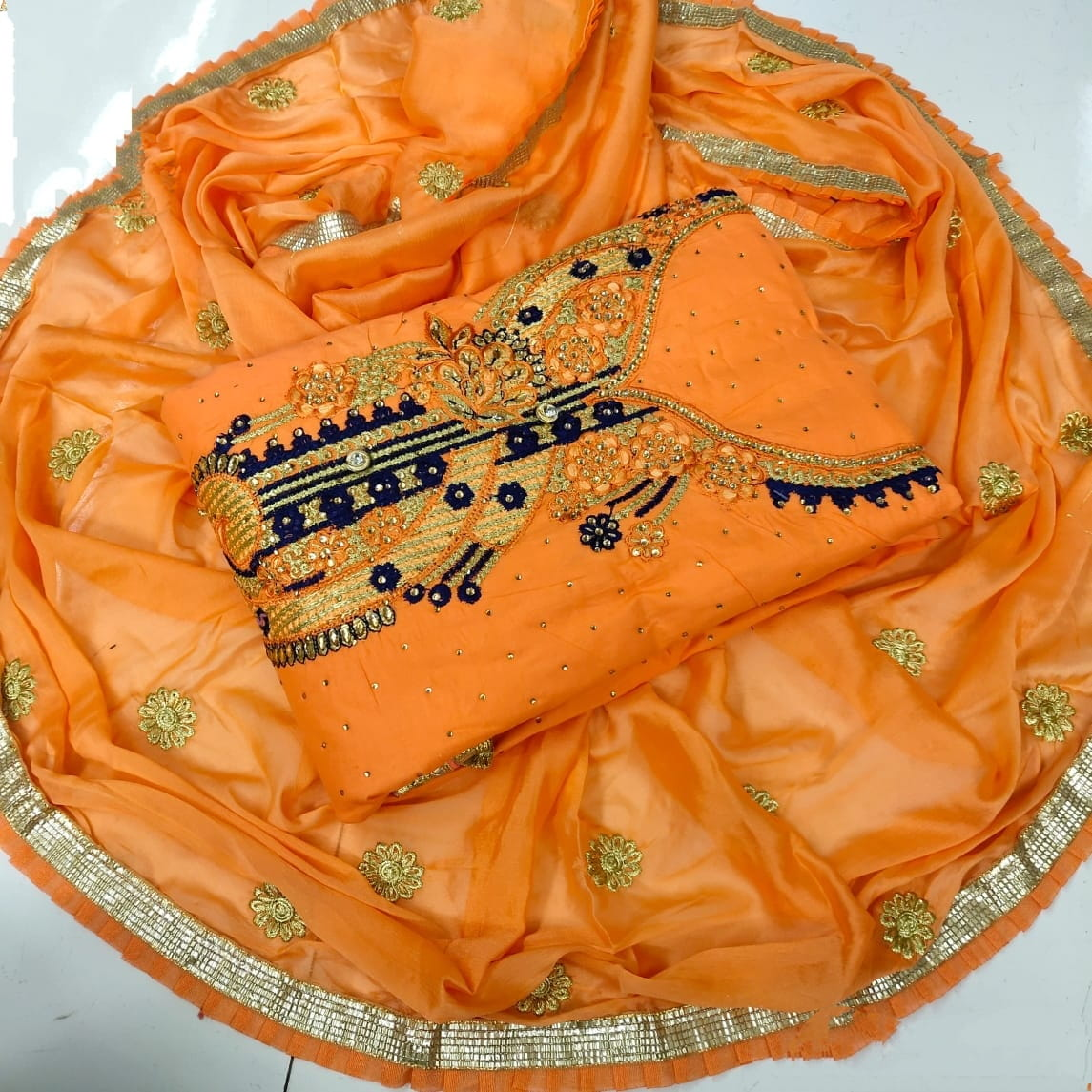 Ravishing Orange Cotton With Embroidered Work Suit
