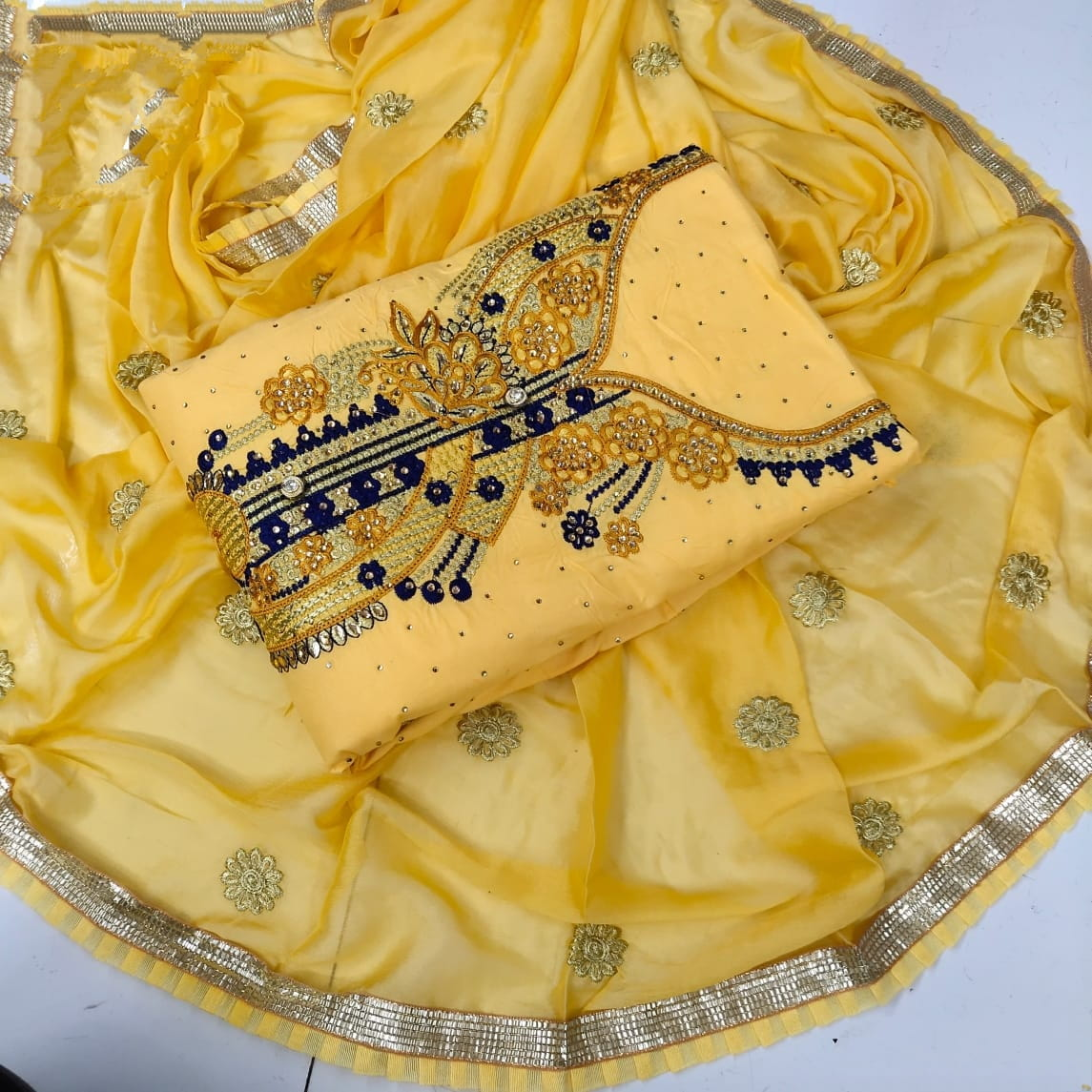 Striking Yellow Cotton With Embroidered Work Suit