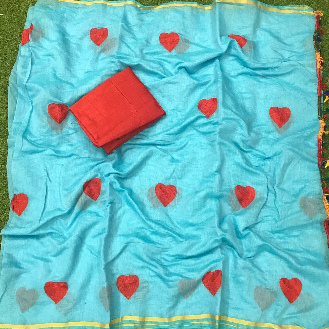 Alluring Sky Blue Chanderi Silk Embroidered Saree Designer Saree