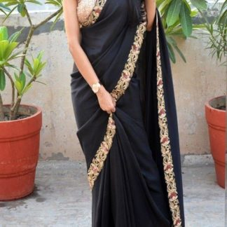 Smashing Black Silk Thread Multi Work Saree