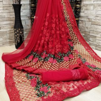 FashionArt Red colour Net Saree with Full Saree of Heavy quality Net with Heavy embroidery Work for Party wear