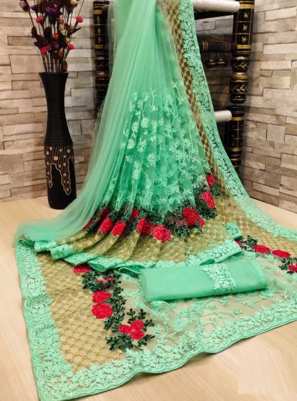 Exclusive FashionArt light Green colour Net Saree with Full Saree of Heavy quality Net with Heavy embroidery Work for Party wear Saree