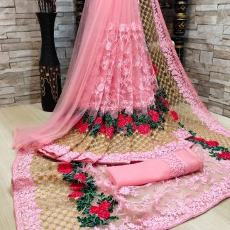 FashionArt Pink colour Net Saree with Full Saree of Heavy quality Net with Heavy embroidery Work for Party wear