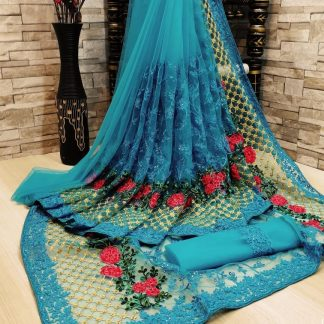 Delightful Sky Blue FashionArt Net Saree with Full Saree of Heavy quality Net with Heavy embroidery Work for Party wear Saree