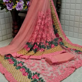 Wonderful FashionArt Attractive Peach Colour Net Saree with Full Saree of Heavy quality Net with Heavy embroidery Work for Party wear Saree