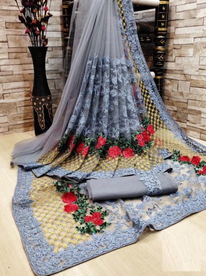 Soften Sea Blue FashionArt Net Saree with Full Saree of Heavy quality Net with Heavy embroidery Work for Party wear Saree